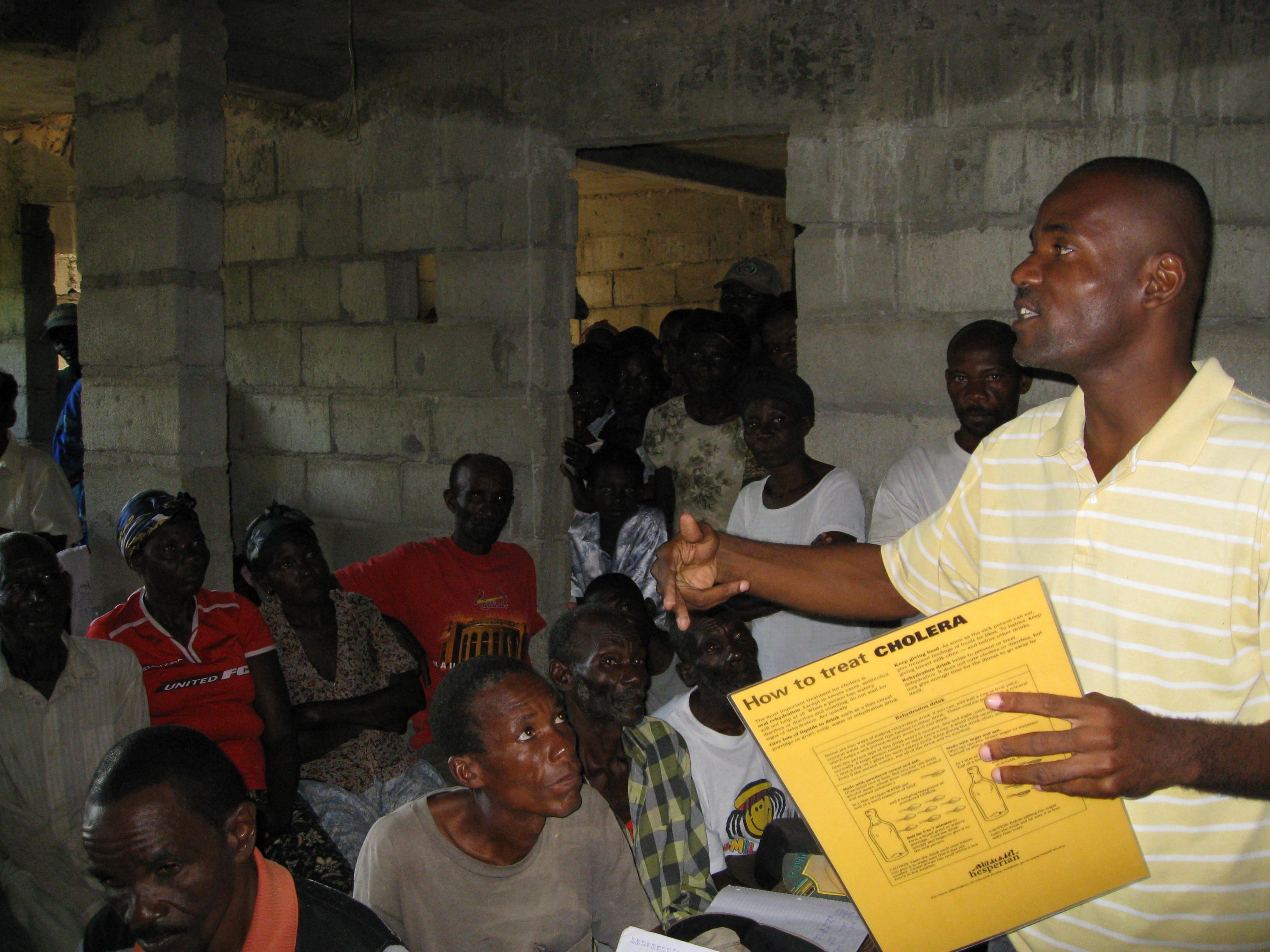 BIF representative Thelusma Renel leads cholera workshop